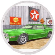 Round Beach Towel featuring the painting 1976 Ford Thunderbird by Jack Pumphrey