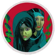 Round Beach Towel featuring the digital art 1976 - Gloom by Irmgard Schoendorf Welch