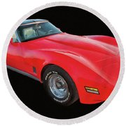 1977 Chevy Corvette T Tops Digital Oil Round Beach Towel
