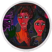 Round Beach Towel featuring the digital art 1977 - Faces Red by Irmgard Schoendorf Welch
