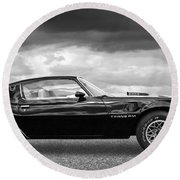 1978 Trans Am In Black And White Round Beach Towel