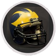 Round Beach Towel featuring the photograph 1980s Wolverine Helmet by Michigan Helmet