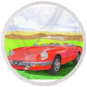 Round Beach Towel featuring the painting 1983 Alfa Romero Spider Veloce by Jack Pumphrey