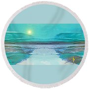 Round Beach Towel featuring the digital art 1983 - Blue Waterland -  2017 by Irmgard Schoendorf Welch