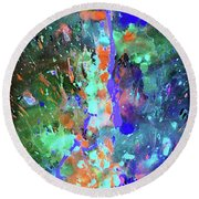 Round Beach Towel featuring the painting 1988.033014invert by Kris Haas