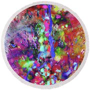 Round Beach Towel featuring the painting 1988.033014invertfadediff by Kris Haas