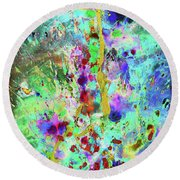 Round Beach Towel featuring the painting 1988.033014invertx2 by Kris Haas