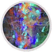 Round Beach Towel featuring the painting 1989.033014invert by Kris Haas