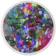 Round Beach Towel featuring the painting 1989.033014invertfadediff by Kris Haas