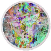 Round Beach Towel featuring the painting 1989.033014invertx2 by Kris Haas