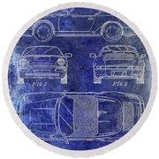 1990 Porsche 911 Patent Blue Round Beach Towel