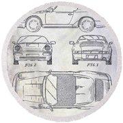 1990 Porsche 911 Patent Round Beach Towel