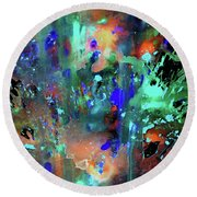 Round Beach Towel featuring the painting 1990.033014invert by Kris Haas