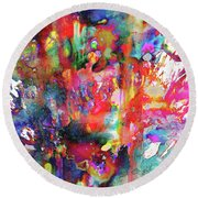 Round Beach Towel featuring the painting 1990.033014invertfadediff by Kris Haas
