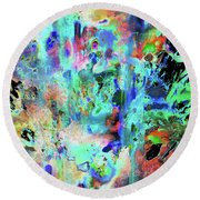 Round Beach Towel featuring the painting 1990.033014invertx2 by Kris Haas
