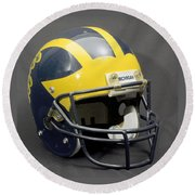 Round Beach Towel featuring the photograph 1990s Wolverine Helmet by Michigan Helmet