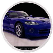 Round Beach Towel featuring the digital art 1997 Dodge Viper Gts Blue by Chris Flees