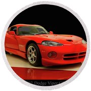 Round Beach Towel featuring the digital art 1997 Dodge Viper Gts Red by Chris Flees