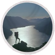 Round Beach Towel featuring the photograph 1a4042 Silhouette At Crescent Lake Wa by Ed Cooper Photography
