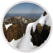 Round Beach Towel featuring the photograph 1a6485 Snow On Mt. Diablo Ca by Ed Cooper Photography