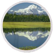 1m1325 Mt. Hunter And Mt. Denali Round Beach Towel