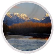 1m4525 Skykomish River And West Central Cascade Mountains Round Beach Towel