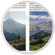Round Beach Towel featuring the photograph 1m4903 And 1m4948 Mt. Saint Helens Before And After Wa by Ed Cooper Photography
