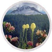 1m5101 Flowers And Mt. Hood Round Beach Towel