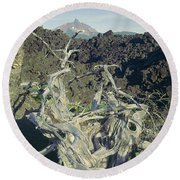 Round Beach Towel featuring the photograph 1m5412 Mt. Washington Over Lava Fields Wa by Ed Cooper Photography