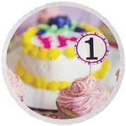 1st Birthday Round Beach Towel