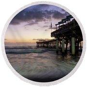 1st Dawn Cocoa Pier Round Beach Towel by Jennifer White