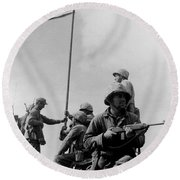 1st Flag Raising On Iwo Jima  Round Beach Towel by War Is Hell Store