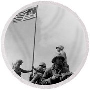 1st Flag Raising On Iwo Jima  Round Beach Towel