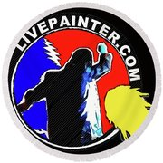 1st Live Painter Logo Round Beach Towel