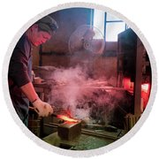 4th Generation Blacksmith, Miki City Japan Round Beach Towel
