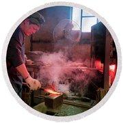 4th Generation Blacksmith, Miki City Japan Round Beach Towel