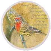 A Pair Of Housefinches With Verse Part 2 - Digital Paint Round Beach Towel