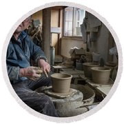 A Village Pottery Studio, Japan Round Beach Towel