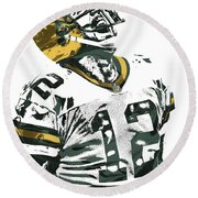Aaron Rodgers Green Bay Packers Pixel Art 4 Round Beach Towel by Joe Hamilton
