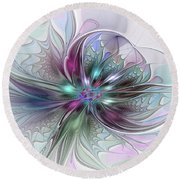 Colorful Fantasy Abstract Modern Fractal Flower Round Beach Towel