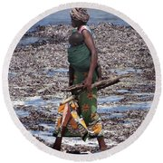 African Woman Collecting Shells 1 Round Beach Towel