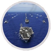 Aircraft Carrier Uss Ronald Reagan Round Beach Towel