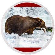 Alaska Brown Bear Round Beach Towel