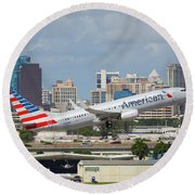 American Airlines Round Beach Towel