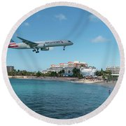 American Airlines Landing At St. Maarten Round Beach Towel by David Gleeson