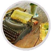 An Author's Tools Round Beach Towel by Lynn Palmer