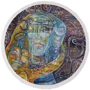 Round Beach Towel featuring the painting 2 Angels Hugging Environmental Warrior Goddess by Carol Rashawnna Williams