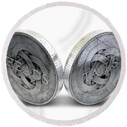 Antique Coins Heads And Tails Round Beach Towel