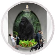 Ape Gorilla Art Round Beach Towel