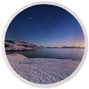 Arctic Sunset Round Beach Towel